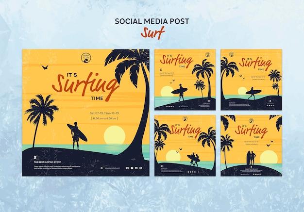 Coleção de postagens do instagram para o tempo de surf