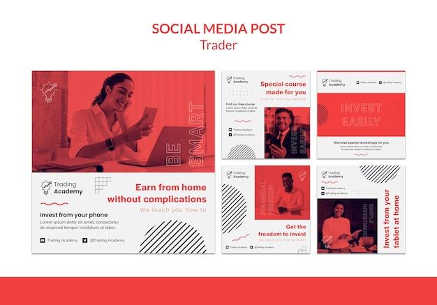 Coleção de postagens do instagram para ocupação de trader de investimento