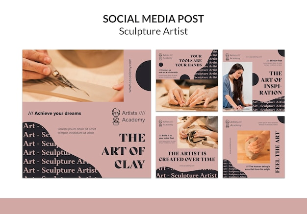 Coleção de postagens do instagram para oficina de escultura