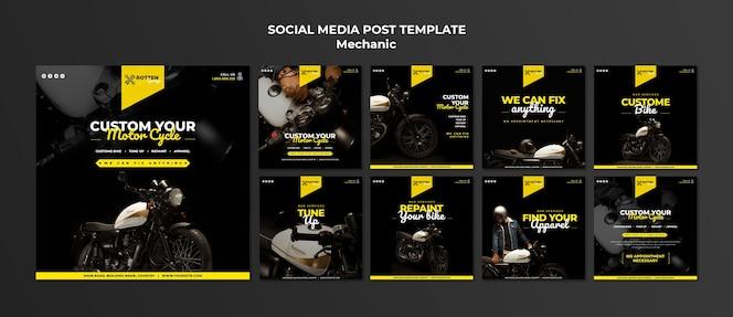 Coleção de postagens do instagram para oficina de motocicletas