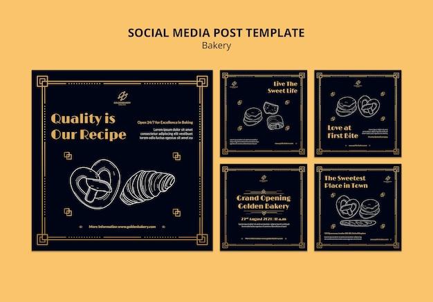 Coleção de postagens do instagram para padaria com quadro negro desenhado à mão