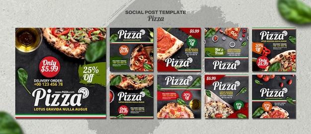 Coleção de postagens do instagram para pizzaria italiana