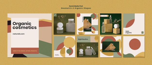 Coleção de postagens do instagram para pódio de garrafas de óleo essencial com formas geométricas