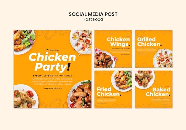Coleção de postagens do instagram para prato de frango frito