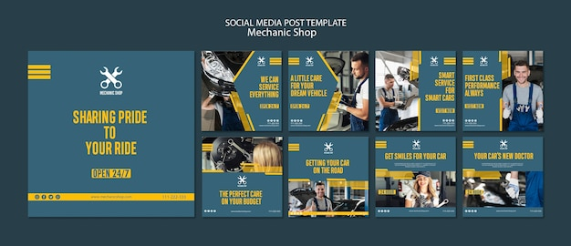 Coleção de postagens do instagram para profissão mecânica