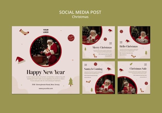 Coleção de postagens do instagram para promoções de natal