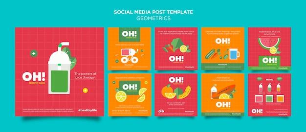 Coleção de postagens do instagram para receitas de smoothies de frutas