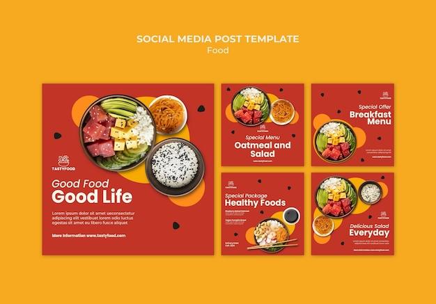 Coleção de postagens do instagram para restaurante com tigela de comida saudável