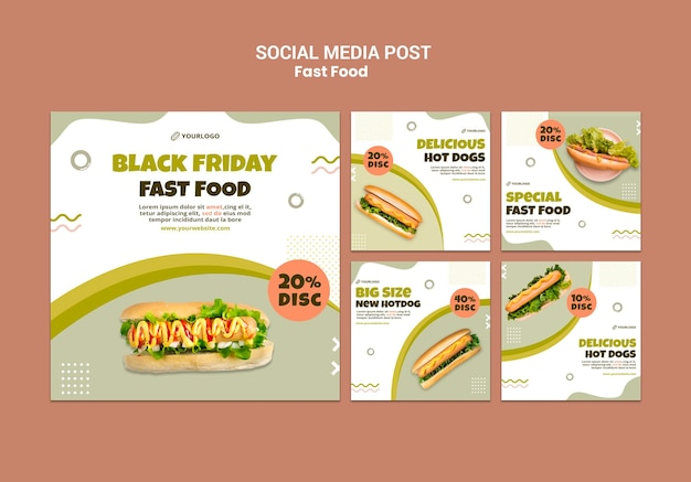 Coleção de postagens do instagram para restaurante de cachorro-quente