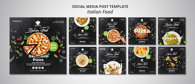 Coleção de postagens do instagram para restaurante de comida italiana tradicional
