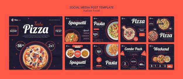 Coleção de postagens do instagram para restaurante de comida italiana