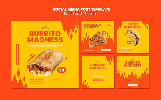 Coleção de postagens do instagram para restaurante de fast food