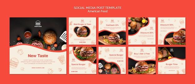 Coleção de postagens do instagram para restaurante de hambúrguer