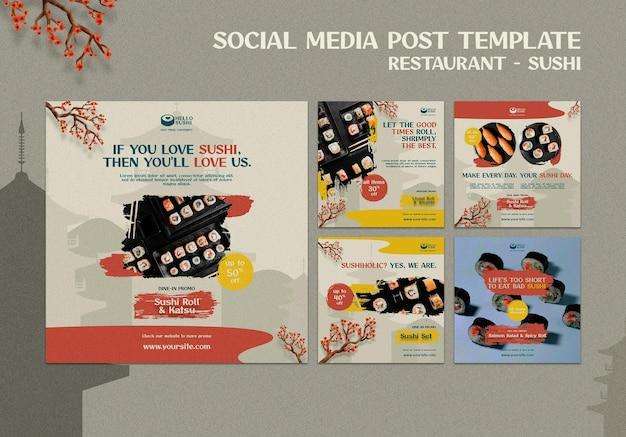 Coleção de postagens do instagram para restaurante de sushi
