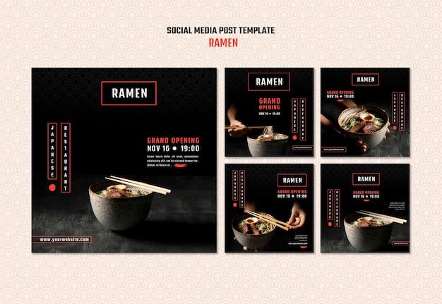 Coleção de postagens do instagram para restaurante ramen japonês