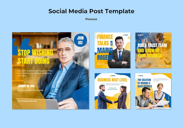 Coleção de postagens do instagram para seminário de negócios e finanças