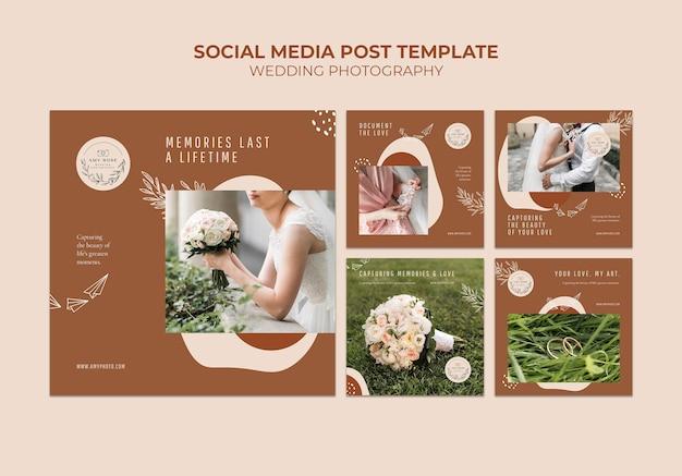 Coleção de postagens do instagram para serviço de fotografia de casamento