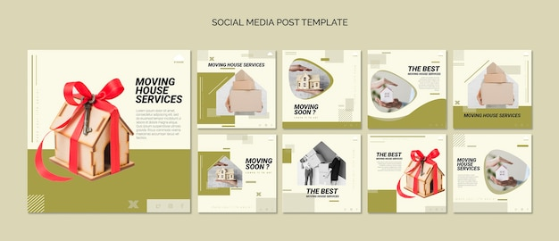 Coleção de postagens do instagram para serviços de mudança de casa
