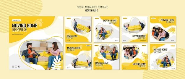 Coleção de postagens do instagram para serviços de realocação de casas