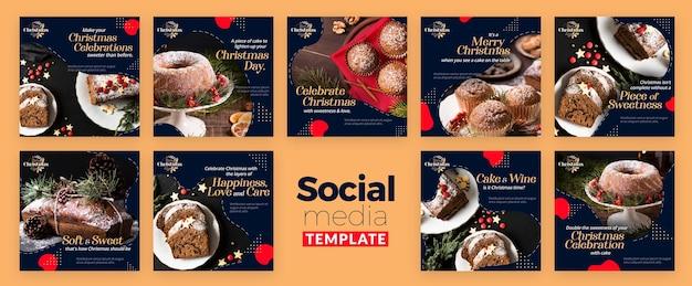 Coleção de postagens do instagram para sobremesas tradicionais de natal