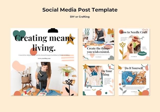Coleção de postagens do instagram para tutoriais diy