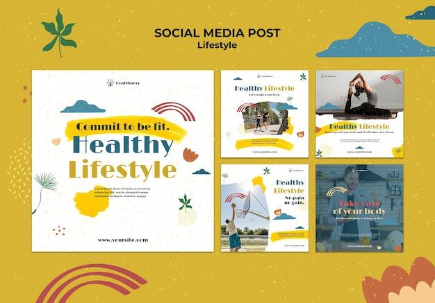 Coleção de postagens do instagram para um estilo de vida saudável