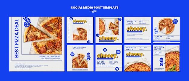 Coleção de postagens do instagram para um novo sabor de pizza de queijo