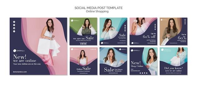 Coleção de postagens do instagram para venda de moda on-line