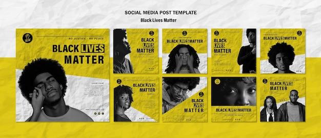 Coleção de postagens do instagram para vidas negras importa