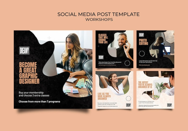 Coleção de postagens do instagram para workshops e aulas de profissão
