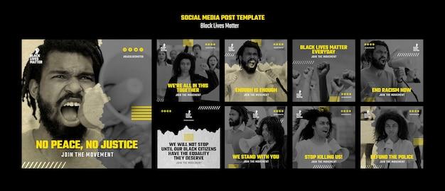Coleção de postagens do instagram por discriminação racial