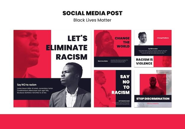 Coleção de postagens do instagram por racismo e violência