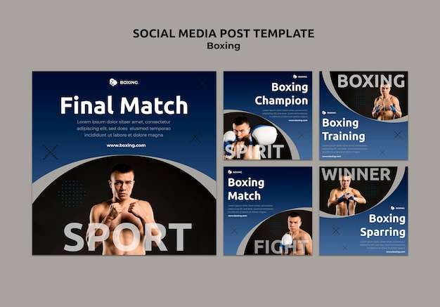Coleção de postagens do instagram sobre boxe com boxeador masculino