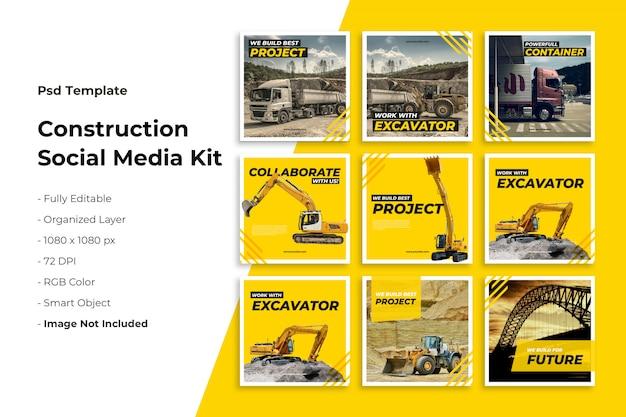 Coleção de postagens do instagram sobre construção