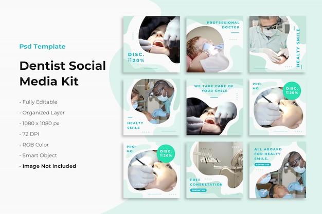 Coleção de postagens do instagram sobre dentista