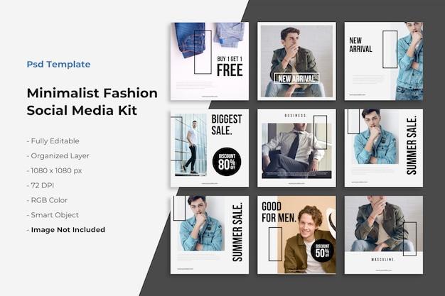 Coleção de postagens do instagram sobre moda minimalista