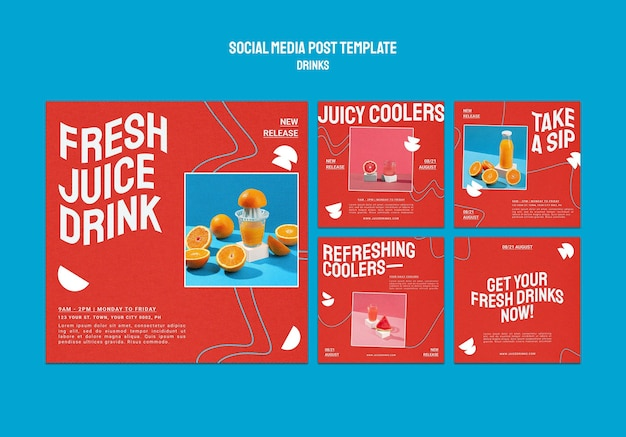 Coleção de postagens do instagram sobre sucos de frutas saudáveis