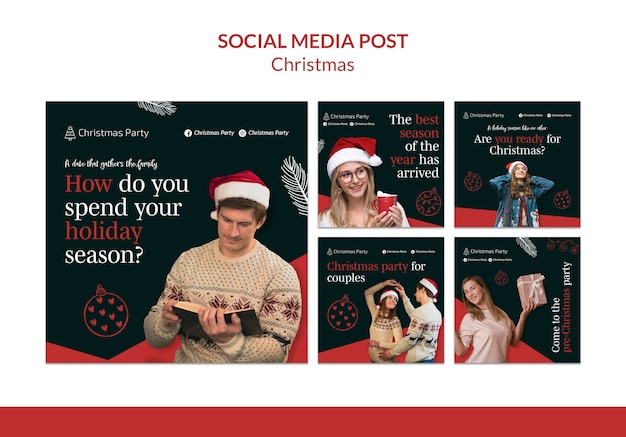 Coleção de postagens festivas de instagram de natal