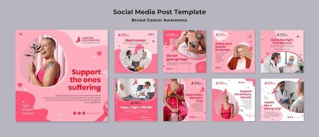 Coleção de postagens nas redes sociais de conscientização sobre o câncer de mama