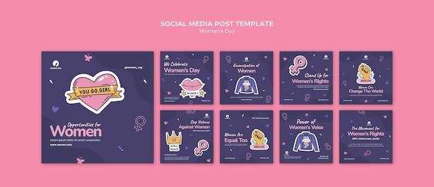 Coleção de postagens nas redes sociais para o dia da mulher
