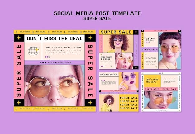 Coleção de postagens no instagram para super venda de óculos de sol