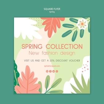 Coleção de primavera flyer quadrado