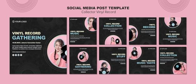 Coleção de publicações do instagram de discos de vinil