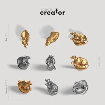 Coleção de ratos dourados chineses