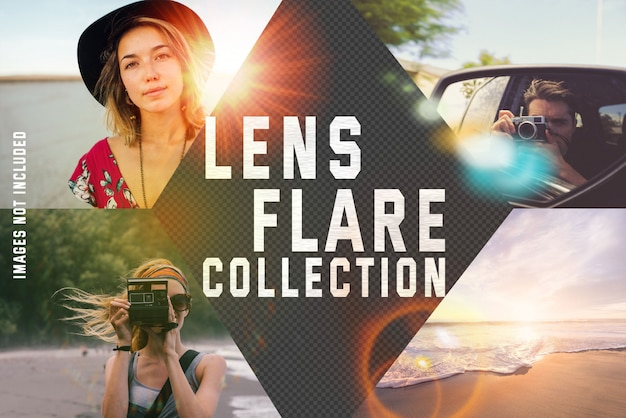 Coleção de reflexo de lente em fundo transparente