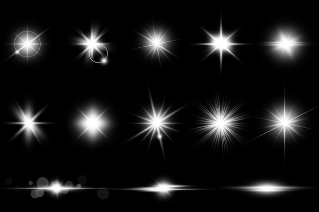 Coleção de reflexos de lente branca realista
