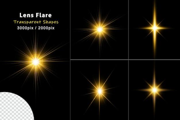 Coleção de reflexos de lentes brilhantes douradas