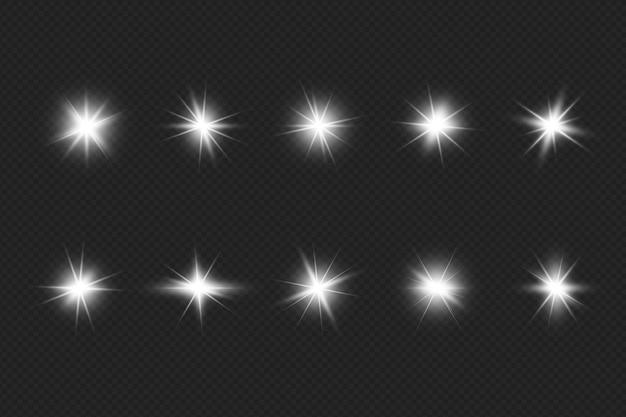 Coleção de reflexos de lentes brilhantes realistas