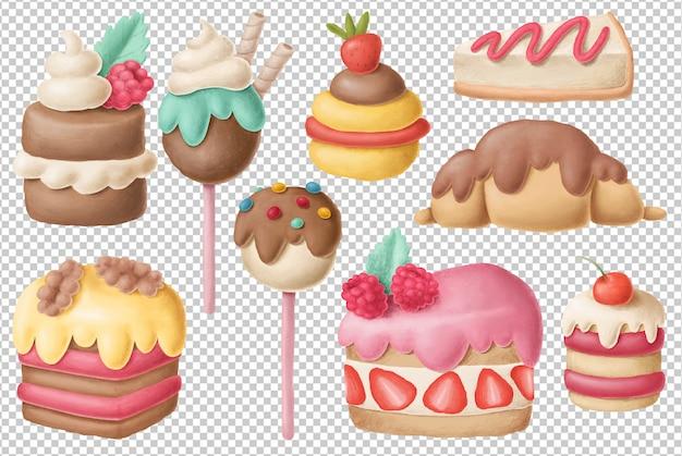 Coleção de sobremesa desenhada de mão