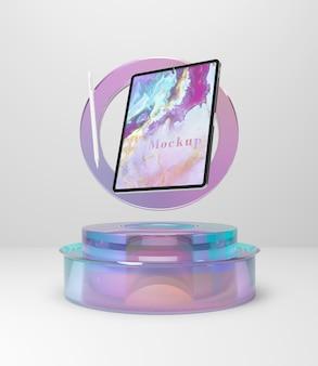 Coleção de tablets com suporte de vidro transparente